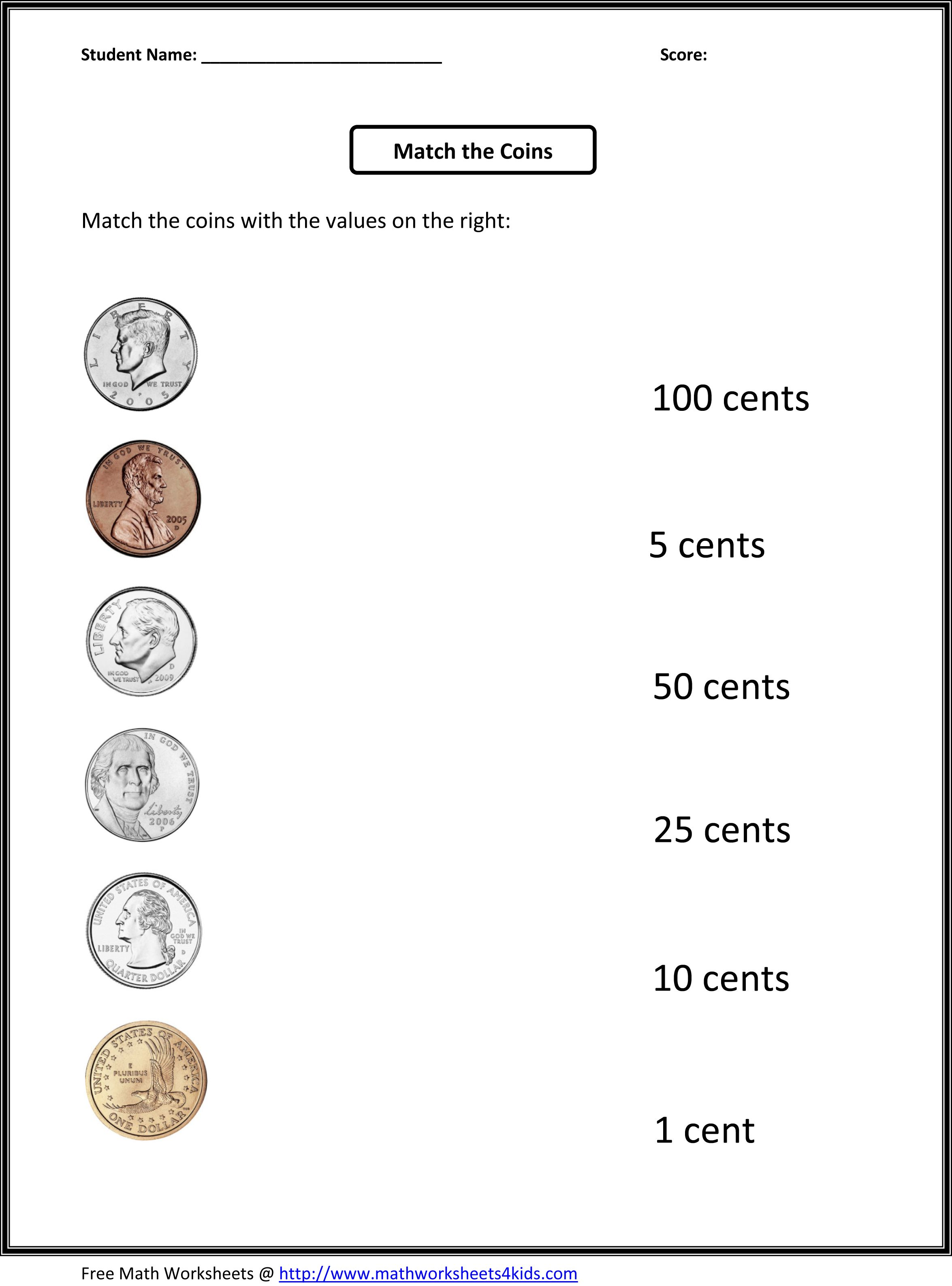Free 1st Grade Worksheets Match The Coins And Its Values First