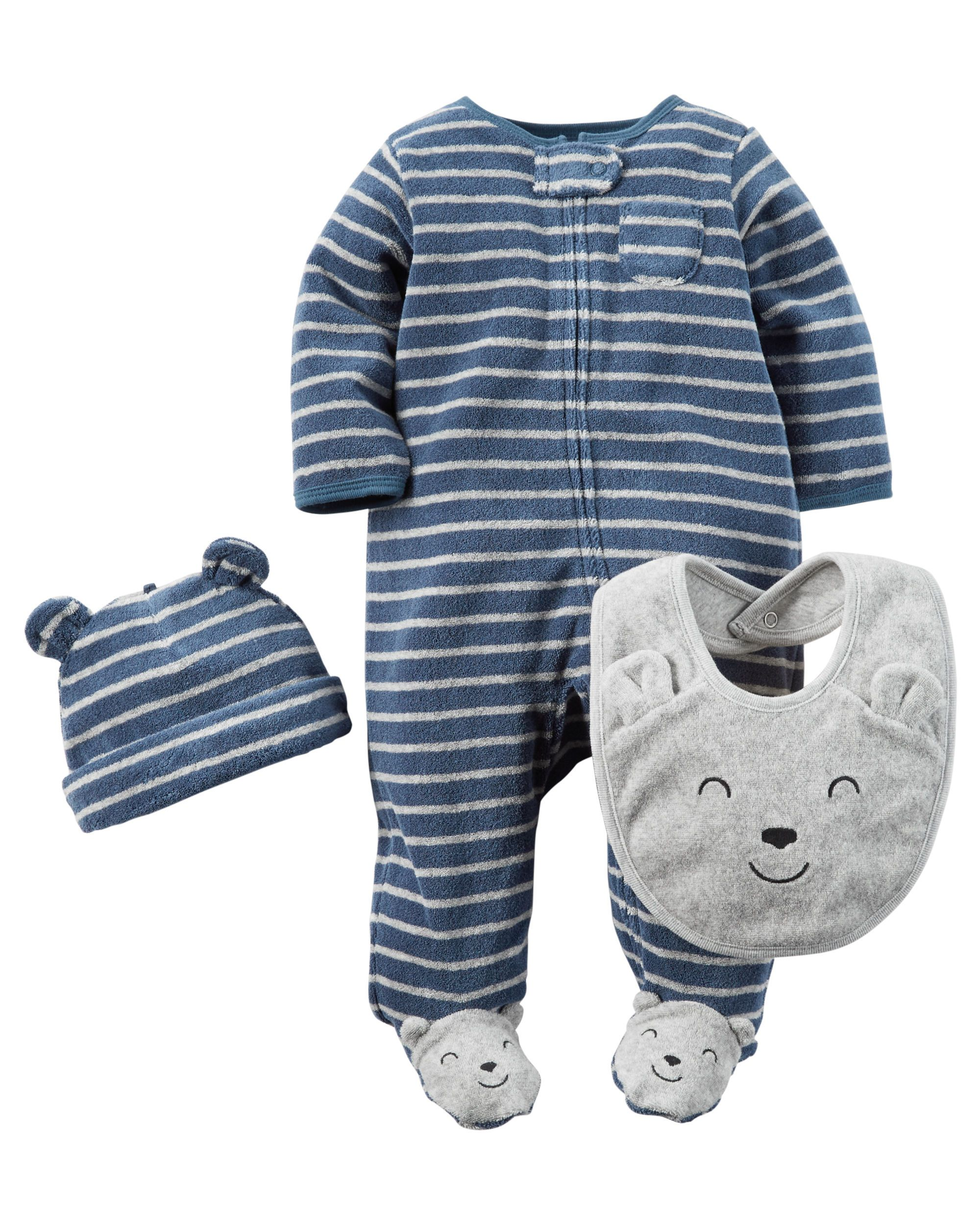 3b9145294def Baby Boy 3-Piece Terry Sleep   Play Set