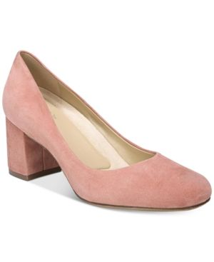 5198d9ade9 Naturalizer Whitney Pumps - Pink 4M Pink Leather, Women's Pumps, Block Heels,  Kitten