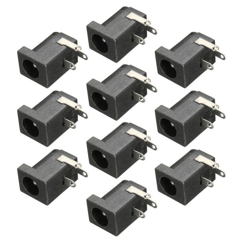 10 개 5.5x2.1 미리메터 DC 전원 여성 잭 소켓 3 다리 PCB 마운트 블랙 충전 전원 커넥터 플러그