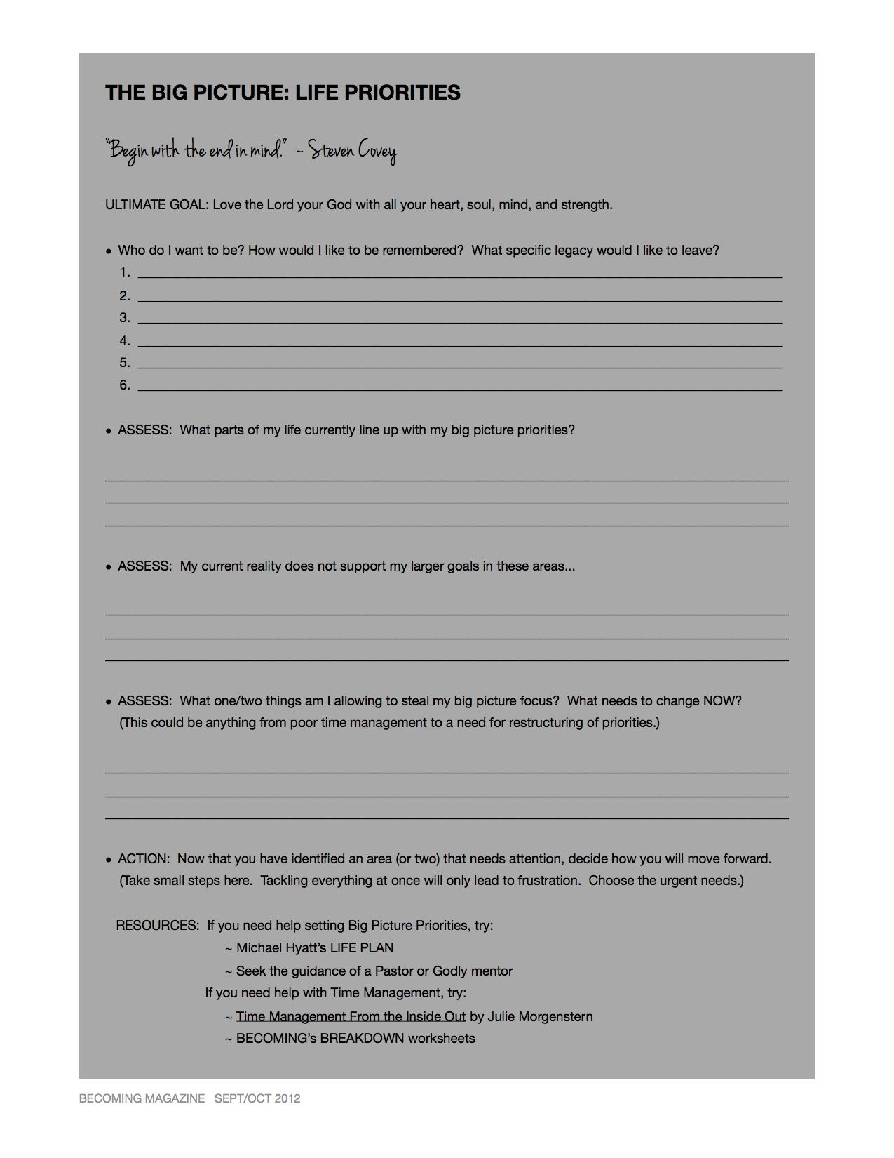 Becoming Time Worksheet 1 The Big Picture Life
