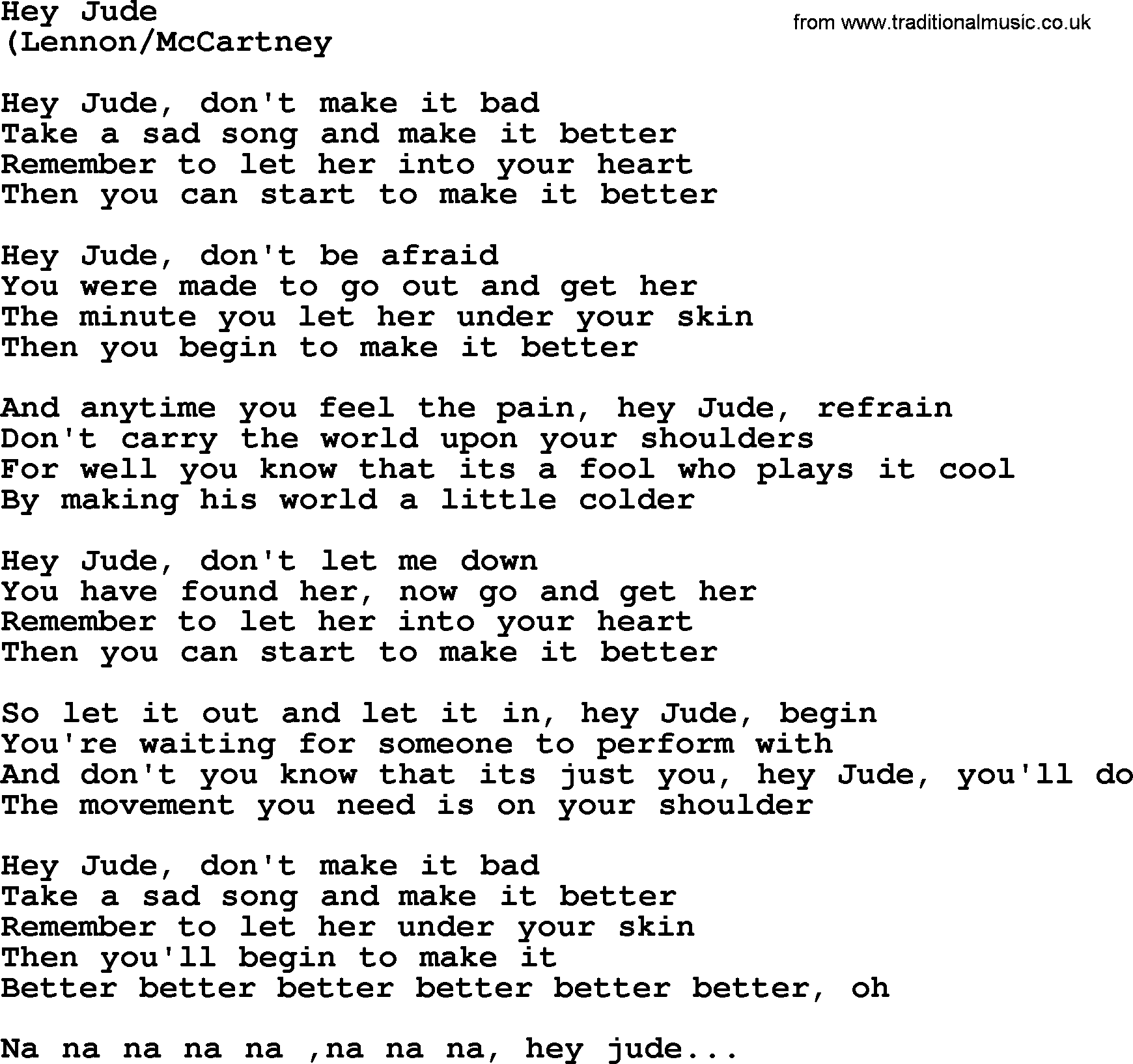 beatles lyrics hey jude - HD 1740×1634