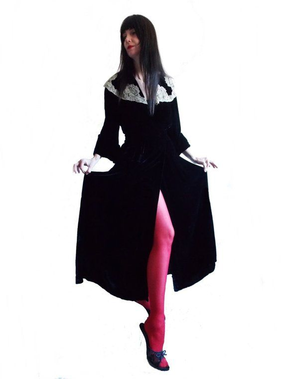 ca8907c4f SPECIAL OFFER - 1940s black silk velvet robe with ivory white lace 1930s  lounge dressing gown  film