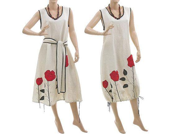 2d59f21740e Linen dress flared hem or balloon shape   lagenlook for medium or plus size  women   size M-L  white with roses via Etsy