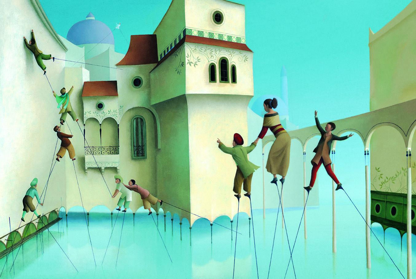 Éric Puybaret es el autor de este álbum ilustrado editado por la editorial de literatura infantil y juvenil Edelvives. Un cuento en el que los personajes tienen que utilizar unos zancos rojos para desplazarse por su ciudad, construida sobre el agua.