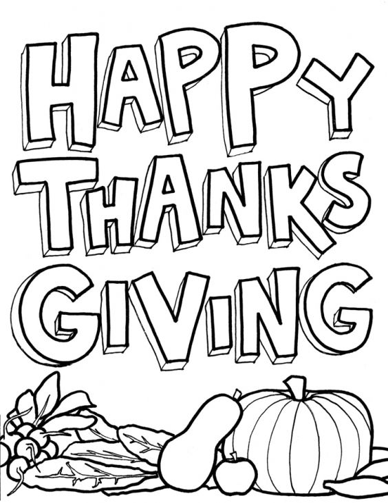 A Very Happy Thanksgiving Coloring Page Printable For Children ...