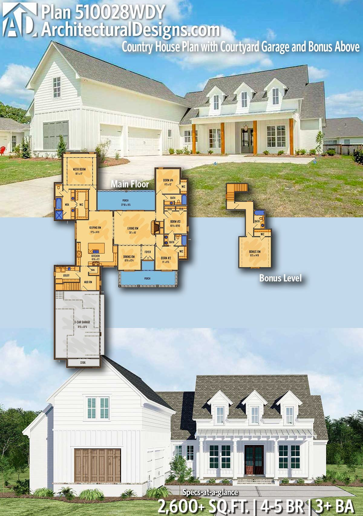 Plan 510028wdy Country House Plan With Courtyard Garage And Bonus Above Multigenerational House Plans Courtyard House Plans Country Style House Plans