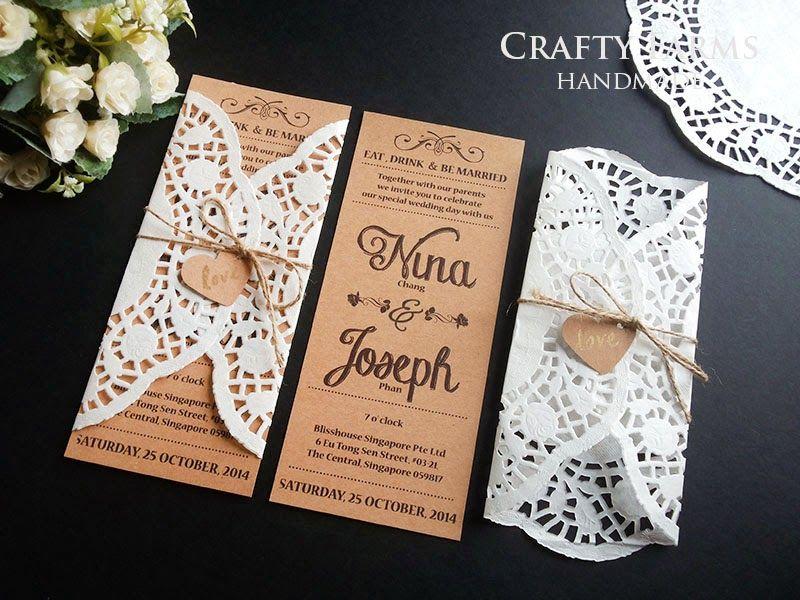 Doily Inspired Brown Rustic Wedding Cards Convite De Casamento