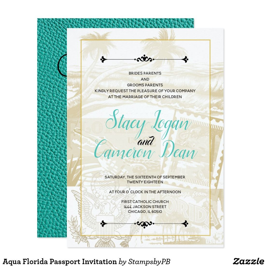 Aqua Florida Passport Invitation Passport