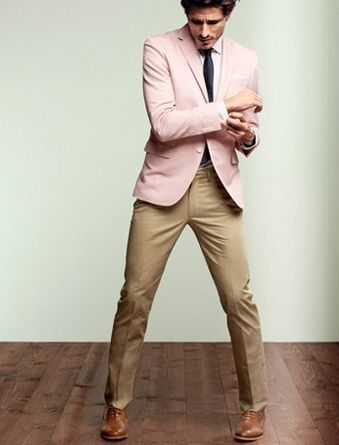 Men's Pink Blazer, White Dress Shirt, Khaki Dress Pants, Brown ...