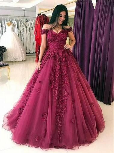 69adbf1ffb47 Lace Off Shoulder Maroon A-line Long Evening Prom Dresses