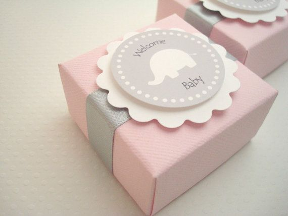 Pink and Gray Elephant Favor Boxes Set of Ten – Baby Announcement Favors