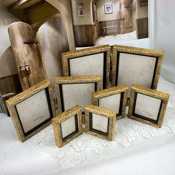5x7 Inch Pale Gold Hinged Double Frame For Two Vertical Photos