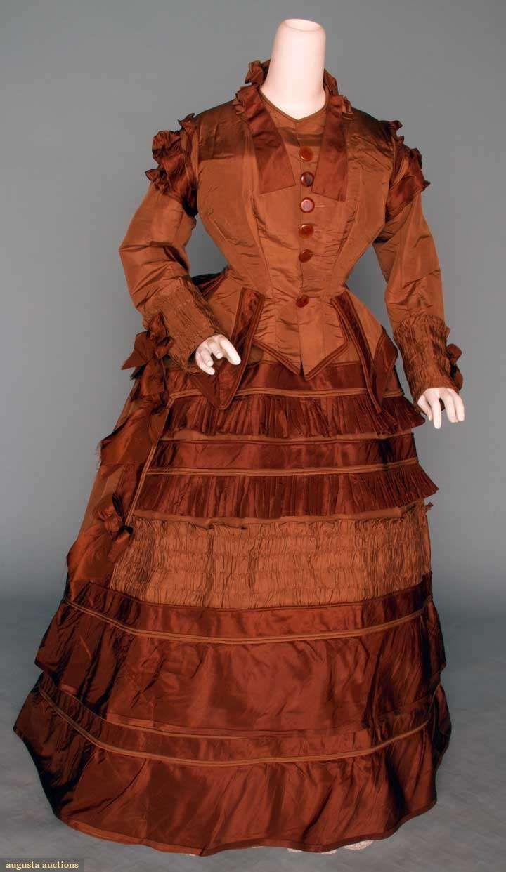 Brown silk bustle dress piece faille darker brown trims in