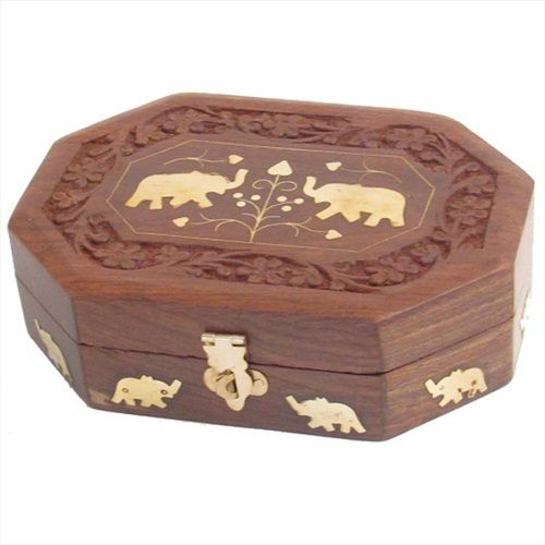 Decorated Wooden Boxes Carved Wooden Box With Brass Elephant Decoration £995  Home And