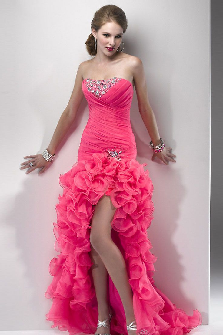 high low prom dress | Vestidos fucsia rosados magenta largos/ Long ...