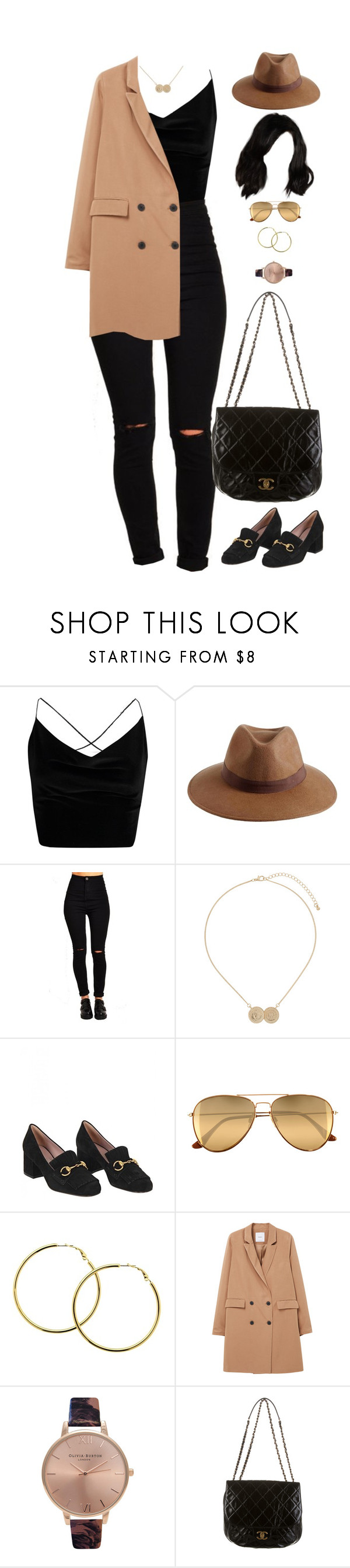 """""""Untitled #383"""" by hollygracem ❤ liked on Polyvore featuring Boohoo, Reiss, Miss Selfridge, Gucci, H&M, Melissa Odabash, MANGO, Topshop and Chanel"""