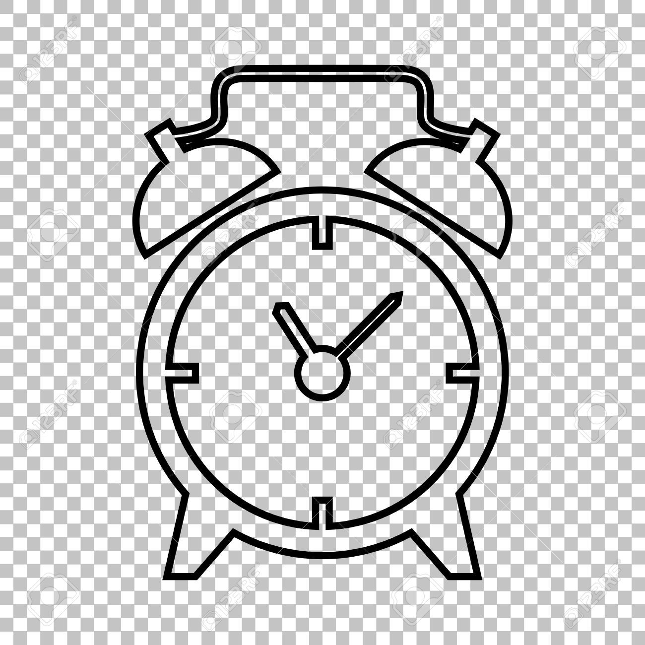 Alarm Clock Line Vector Icon On Transparent Background