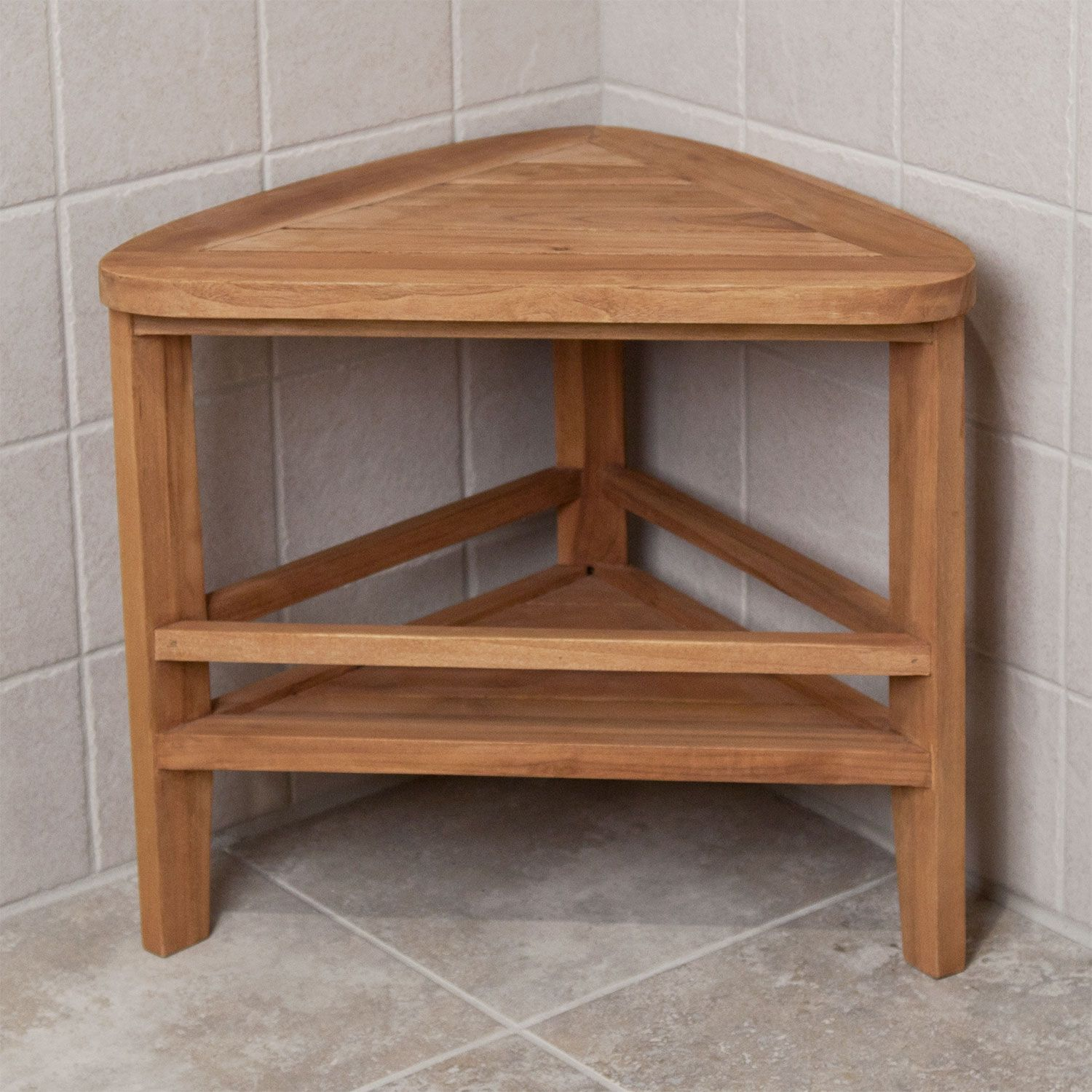 Teak Corner Shower Stool Signature Hardware With Images