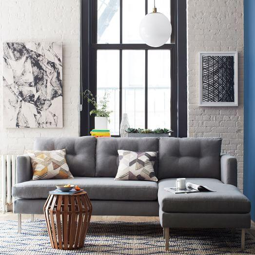 Jackson 2 Piece Sectional Heather Gray Marled Microfiber Retro Sofa Contemporary Living Room Furniture Living Room Sets