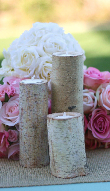 Birch Candles Rustic Wedding Decor I Do Weddings Pinterest
