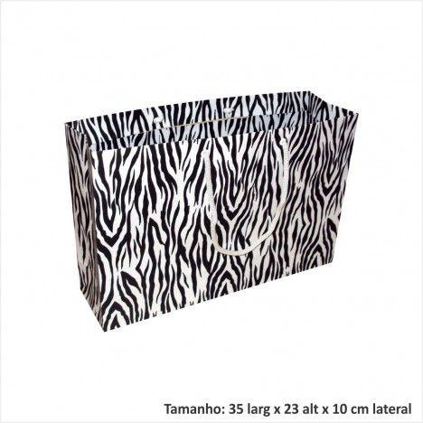 Sacola de papel para presentes estampa zebra