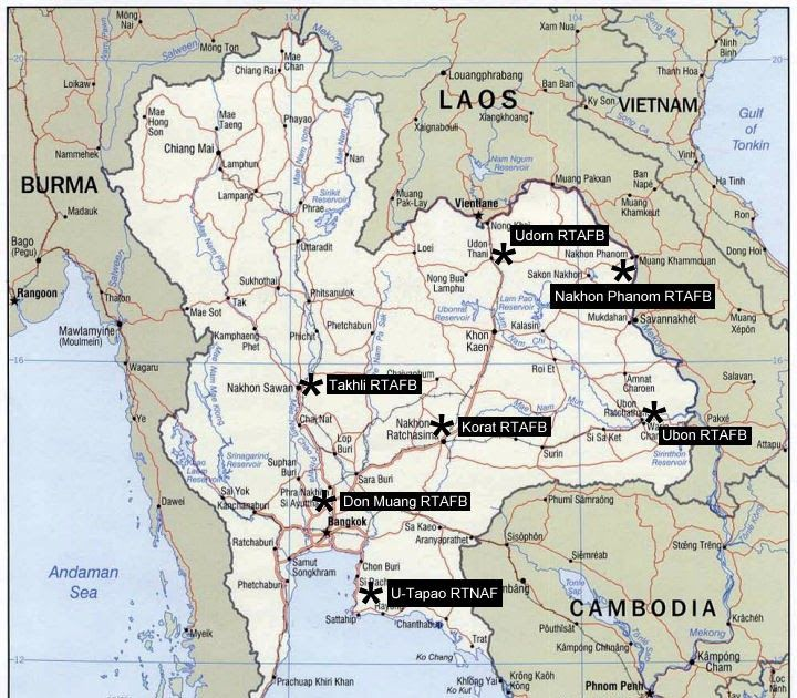USAF Base In Thailand During The Vietnam War Don Muang Royal - Map of us air force installations