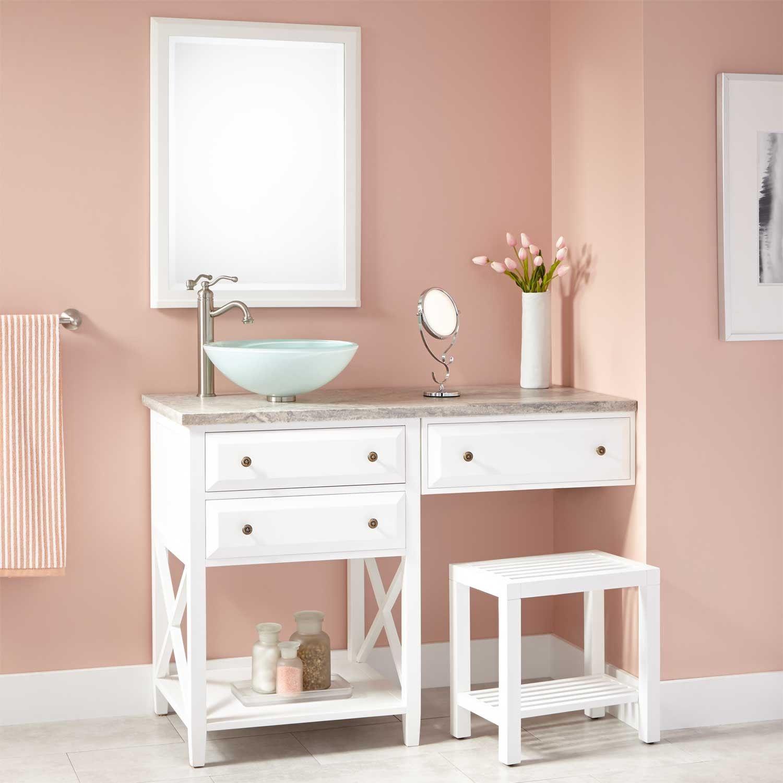 48 Glympton Vessel Sink Vanity With Makeup Area White