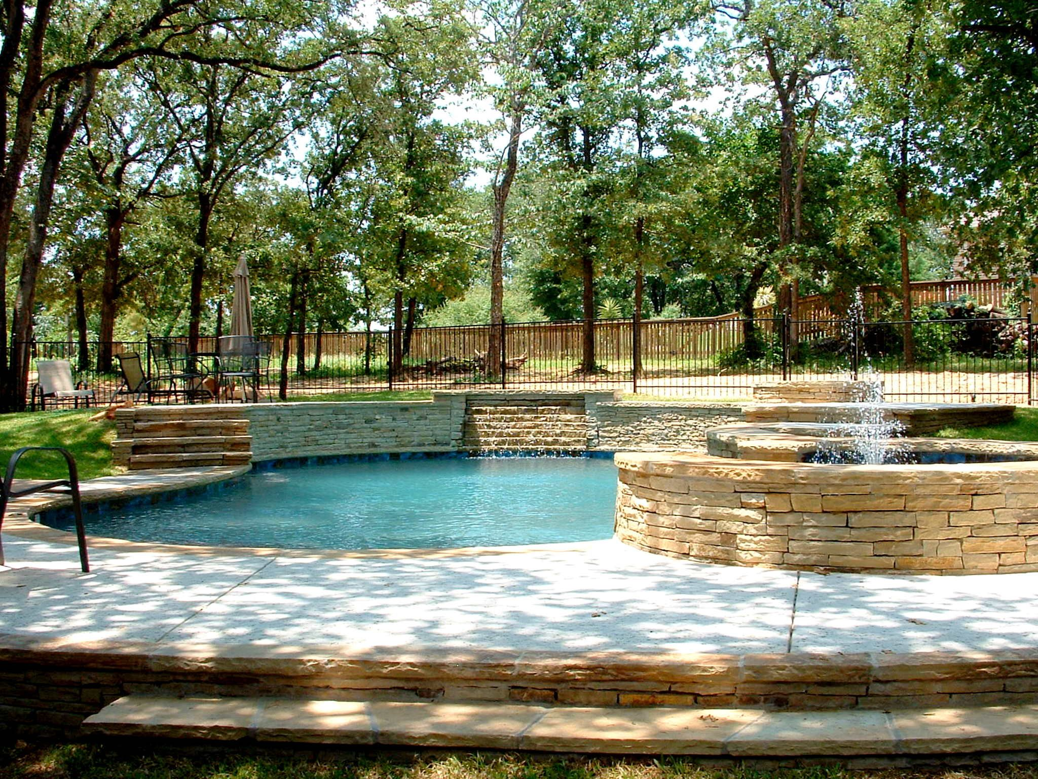 Natural Swimming Pool  Drystack Stone Veneer Waterfall  Keller,