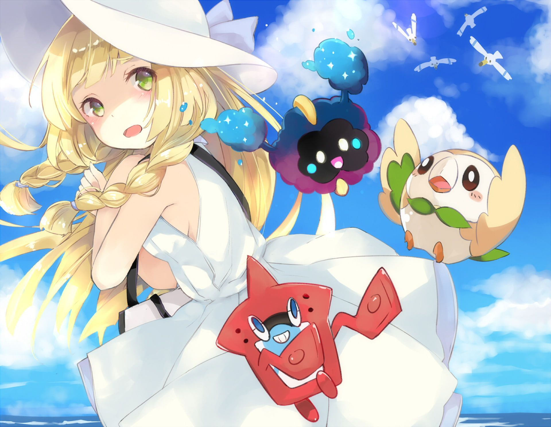 Pokemon Pokemon Sun And Moon Cosmog Pokemon Lillie Pokemon Rotom Pokemon Rowlet Pokemon Wingull Pokemon 1080p Wallpaper Pokemon Anime Pokemon Sun