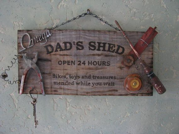Outdoors Workshop Man Cave Build Fix Grampa Metal Plaque Sign Granpas Shed