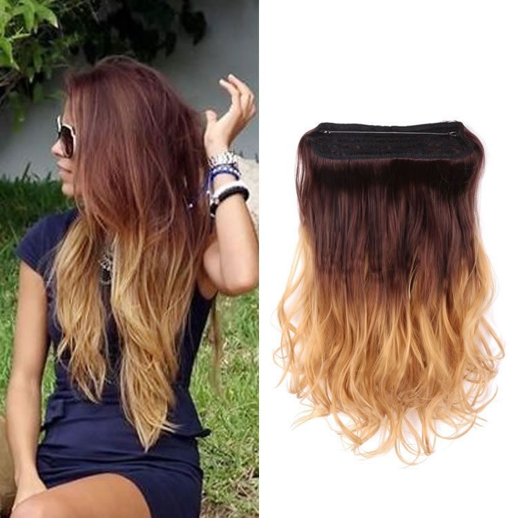 20 inch Brown to Golden Blond Ombre Hair Natural Wavy Flip
