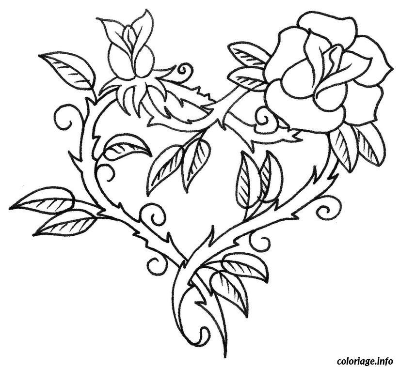 Coloriage Saint Valentin Coeur En Forme De Fleur Dessin à