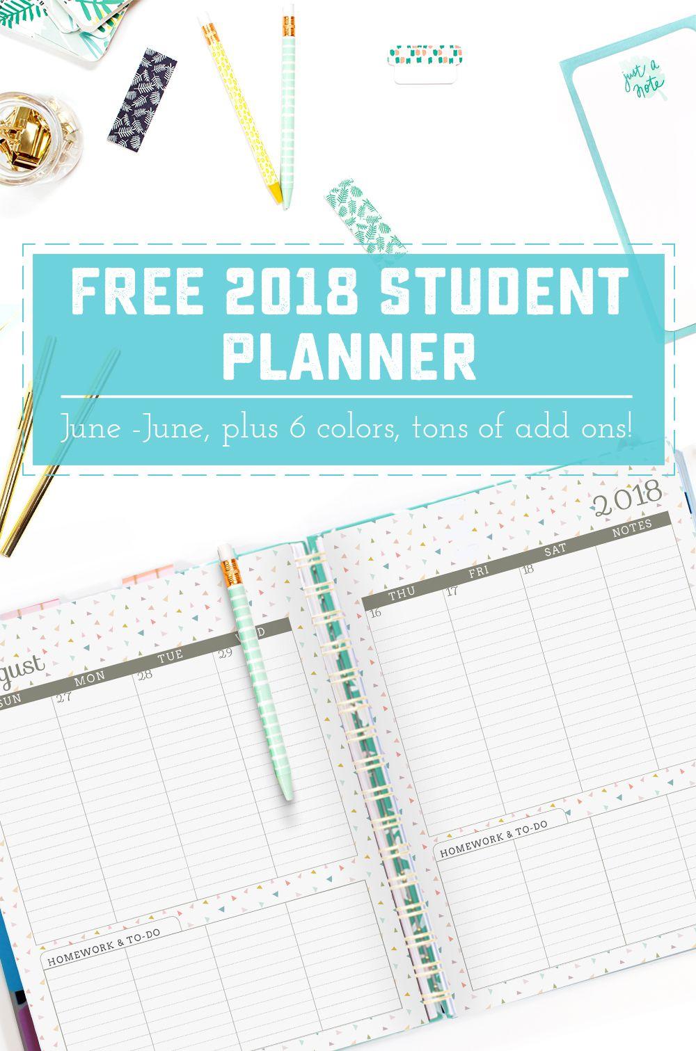 2018 June To June Student Planners Free Printables Digital