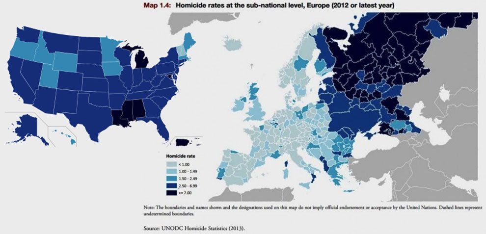 A Map Of Homicide Rates In Europe With Homicide Rates In The Us For Comparison