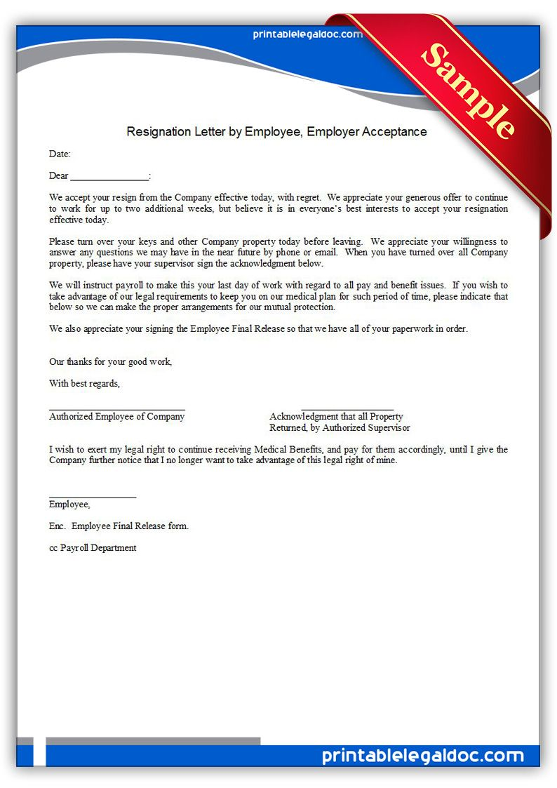 Free Printable Resignation Letter By Employee, Employer Acceptance Legal  Forms