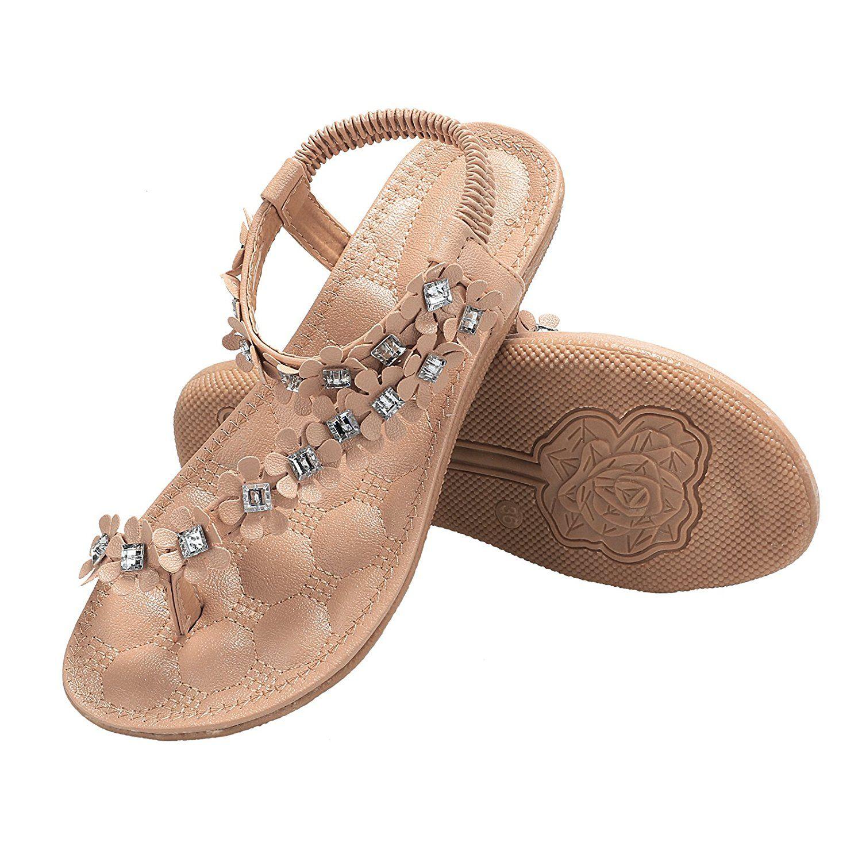 c1b688265697 Zeagoo Women Bohemia Flower Beads Flip-flop Shoes Flat Sandals    For more  information