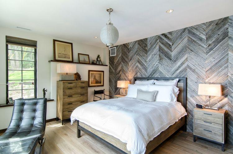 Wandgestaltung Mit Holzpaneelen Im Country Style Schlafzimmer