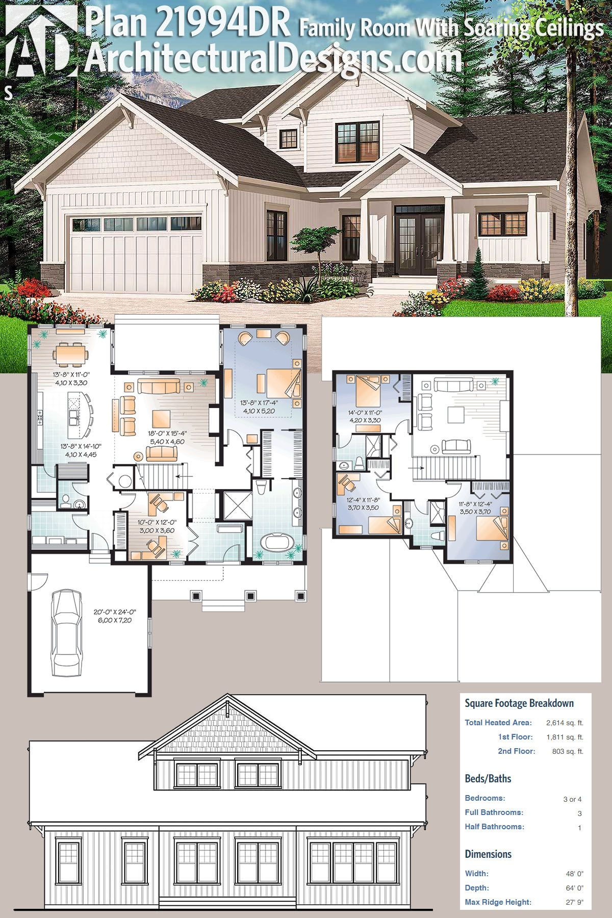 Plan 21994dr New American Home Plan With Soaring Family Roomceilings Architectural Design House Plans Sims House Plans House Blueprints