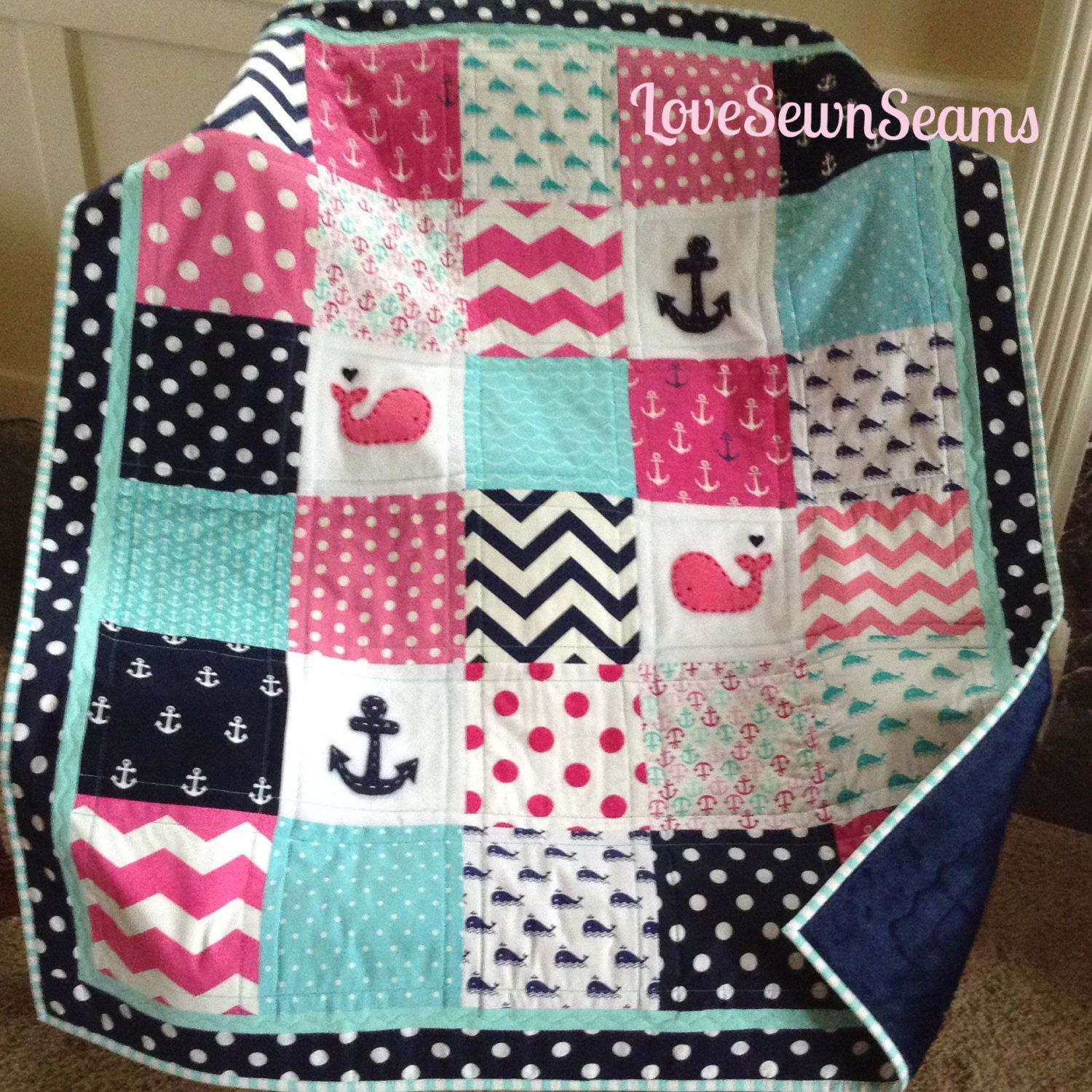 Quilt Patronen Baby.Hot Pink Baby Quilt Nautical Quilt Baby Girl Quilt Baby