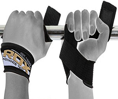 RDX Black Gym Weight Lifting Straps Wrist support Wraps Bar Training Workout US
