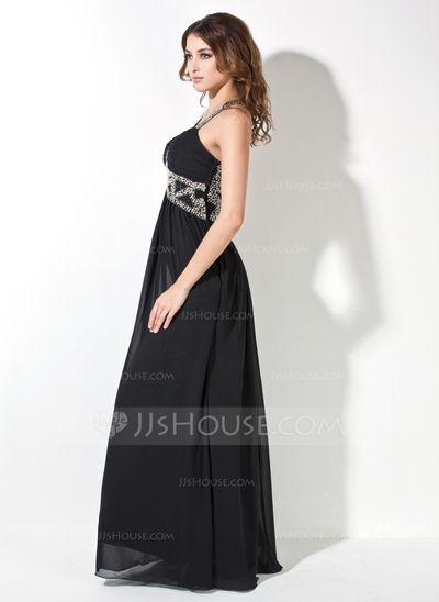 Vestidos princesa/ Formato A Coração Chá comprimento De chiffon Vestido de festa com Pregueado Bordado (017017409)