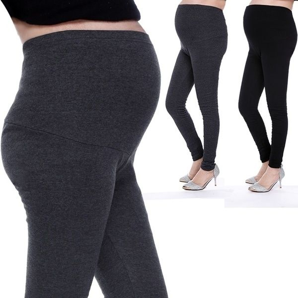 dda9039540122 Pregnant Women Solid High Waist Pants Over Bump Leggings Maternity Trouser