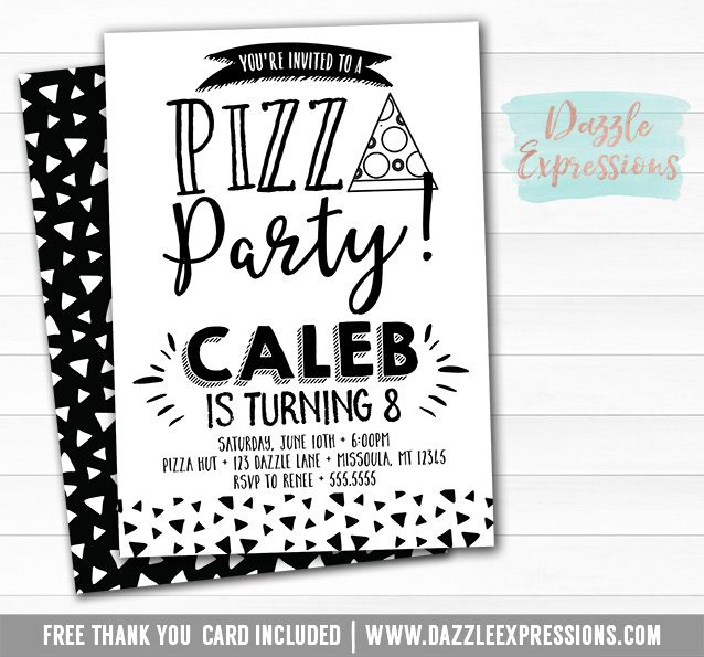 Printable Modern Pizza Party Birthday Invitation