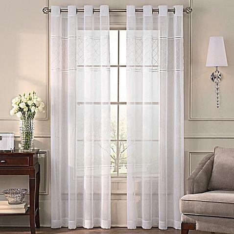 Grace Grommet Top Sheer Window Curtain Panel White Paneling