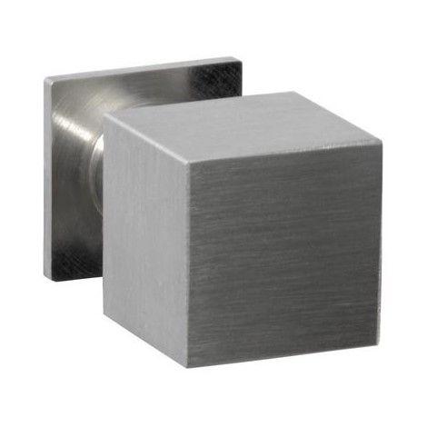 Bouton de meuble carré DIDHEYA - sur pied - Ø20 mm - inox massif