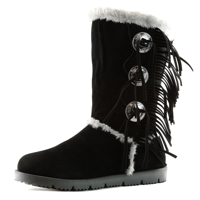 98af9c28328 Women's DailyShoes Comfort 2-Layer Flat Fringe Round Toe Knee High ...