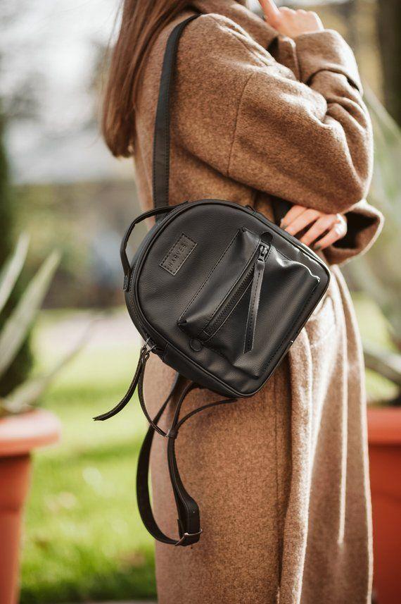 Leather Backpack Women Mini Gift For Her 21 Birthday Vegan Ruckack Small Knap