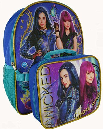 3503afa5783 Disney Descendants 2 Mal and Evie  Wicked Backpack with Lunch Bag ...
