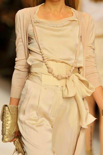 light pink silk everything (top, pants, scarf, beads, cardigan) // @dressmeSue